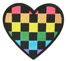 Checkered Heart Iron On Patch- Rainbow Colour Applique Crafts Badge Sew