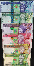 Turkmenistan 6 Pcs SET, 1 5 10 20 50 100 Manat 2012 2014, UNC, P-29 to P-34