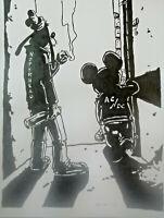 Unikat Mooseart Comic Zeichnung Micky Maus Goofy Acryl Papier 30x40cm Original