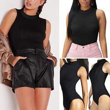 6209b0f8449 Women s Turtleneck Bodysuit Sheer Tops Sleeveless Blouse Shirt Club Bodysuit  S-L