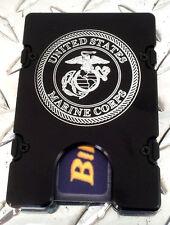 Billet Vault Front Pocket Wallet,  RFID protection black anodized, U.S. Marines