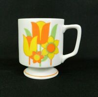 Vtg Coffee Cup White Footed Orange Tulip Flowers MCM 70s