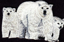 Polar Bear Family Iron on Patch Animals Bears Cubs Arctic Zoo