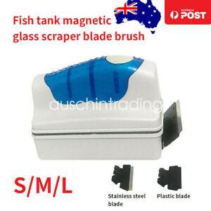 Magnetic Fish Tank Brush Algae Magnet Aquarium Glass Aquatic Cleaner W/ Scraper
