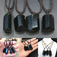 Black Reiki Natural Tourmaline Stone Crystal Point Pendant Necklace Jewelry Gift
