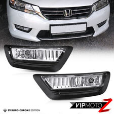 {CHROME} L+R Front Bumper Fog Light Driving Lamp For 13-15 Honda Accord 4D Sedan
