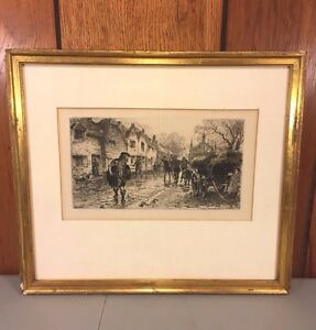 Vintage William B Hole Etching Matted & Framed
