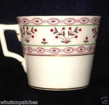 ROYAL CROWN DERBY BRITTANY FLAT CUP 8 OZ RED & GREEN GEOMETRIC BANDS & PLANTS