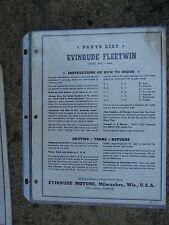 1951 Evinrude Fleetwin Outboard Original Parts List 4443 4444 More In Store L