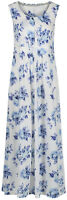 Maine Debenhams White Blue Floral Jersey Maxi Midi Dress Size 8 10 (P169)