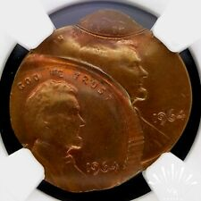 1964 TRIPLE STRUCK 3 TIMES SADDLE 2 DATES NGC MS63 LINCOLN MINT MISTAKE ERROR