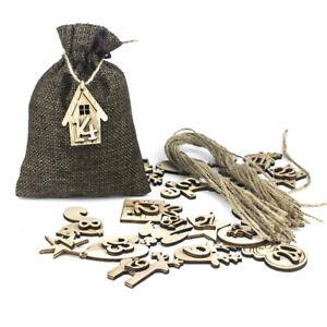 Christmas Advent Calendar Bags 24 Days Embellishments 1-24 Wooden Listing LabeAP