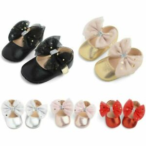Newborn Baby Girl Bow Anti-slip Crib Shoes Princess Soft Sole Sneakers Prewalker
