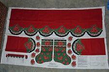 Christmas Mantel Scarf and Stocking Fabric Panel