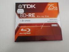 BLU-RAY DISC REWRITABLE TDK BD-RE 25GB SINGLE LAYER 1-2X SPEED BD-RE25JC2XE NEW