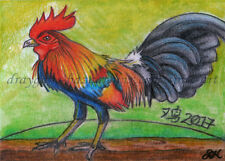 ACEO Original Art Chinese New Year Fire Rooster Bird Drawing Realism -SMcNeill