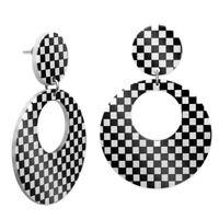 schwarz weiß karierte Ohrhänger 60er Sixties Loops Ohrringe Ohrstecker Damen