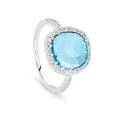 Georgini R385B Sterling Silver Semi Precious Blue Topaz with CZ Ring 6 RRP$209