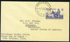 AUSTRALIA 1949 UPU UNIVERSAL POSTAL UNION FDC 10th OCT. 1949 BRISBANE QUEENSLAND