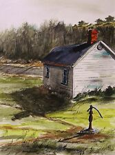 Original SCHOOL House  Landscape WATERCOLOR JMW art John Williams Impressionism