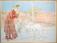 """David Ramos """"On The Outside Looking In"""" Original Drawing Canvas, farm, sheep OBO"""