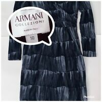Armani Collezioni Womens Long Sleeve V-Neck A-Line Dress Blue Black Size 10
