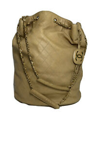 Chanel Bag Bucket Quilted Chain Shoulder Purse Handbag Oversized Duffle Bicolore