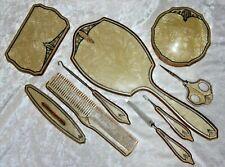 Vintage Celluloid 12 Piece Vanity Dresser Set Mirror Comb Brush Powder Scissors