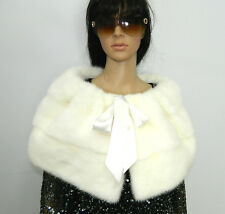 GENUINE WHITE MINK FUR STOLE SCARF CAPE FOR WEDDING Vison-Nerz-Норка
