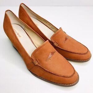 DIANA FERRARI Sz 10.5 Burnt Orange Rust 'Renoir' Suede Leather Block Heel Loafer