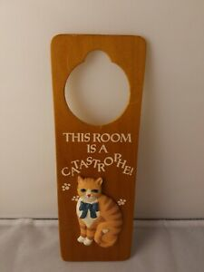 """Vintage Wooden Door Decor """"This Room Is A Catastrophe"""" Door Hanger"""