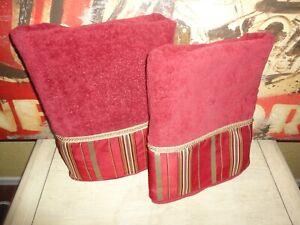 AVANTI MONET MING RED ROYAL GOLD STRIPE (2PC) BATH 🛀  TOWELS SET 27 X 50
