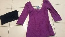 NWT lot XS Pink Victoria's Secret blue Bandeau + lace 3/4 sleeve Free People top