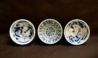 Japanese Old Set of 3 Porcelain Sake Cup Guinomi Sakazuki Blue White Kutani ware