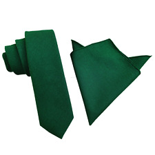 Emerald Green Linen Skinny tie with matching pocket square Wedding Gift