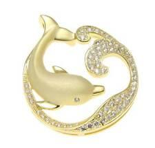 Oro Amarillo Plata de ley 925 HAWÁI Delfín Océano Ondulado Pendiente