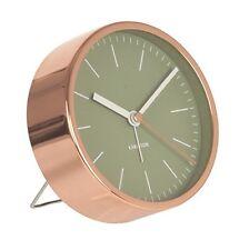 Karlsson MINIMAL ALARM CLOCK COPPER Case GREEN Face SILENT Modern 10cm diam