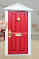 1:12 Scale Wood Door with Metal Accessories Assembled Dollhouse Miniature Red