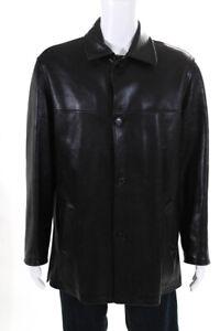 Ermenegildo Zegna Mens Leather Button Up Jacket Coat Black Size M