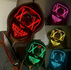 Neon Stitches LED Mask Wire Light Up Purge Halloween Costume Mask Cosplay Party