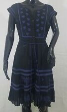 Free People Dress Size 6 Black Blue Crochet Embroidered Button Down Cap Sleeve