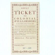 Colonial Williamsburg admission ticket vintage 1969 VA