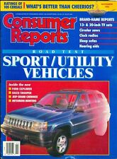 1992 Consumer Reports Magazine: Sport Utility Vehicles/Jeep Grand Cherokee/Ford