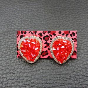 New Betsey Johnson rare Alloy Rhinestone Crystal pink love heart stud Earring