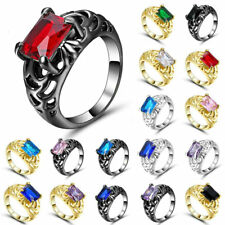 925 Silver Black Gold Filled Topaz Ring Wedding Jewelry Size 6-9 Fashion Women