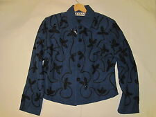 Anage Jacket Dark Blue with Black Beading Accents, Women's Jacket - Size Med NWT
