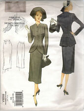 Vogue Sewing Pattern 1019, Retro 1947 Jacket and Skirt Sizes 6 - 12, New
