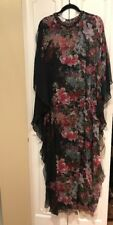 TERI JON BY RICKIE FREEMAN BLACK 100% SILK MULTI FLORAL MAXI KAFTAN dress 2 BNWT