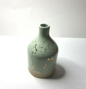 """Hearth & Hand with Magnolia Green & Gold Speckled Stoneware Vase 8 1/2"""" Tall NEW"""
