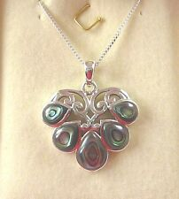 Abalone/Paua Shell Solid 925 Sterling Silver Victorian Style Pendant & Chain